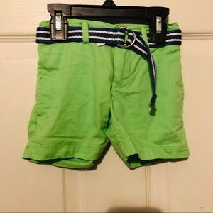 Polo Ralph Lauren green shorts with belt size 2T